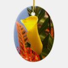mini yellow calla lily ceramic ornament