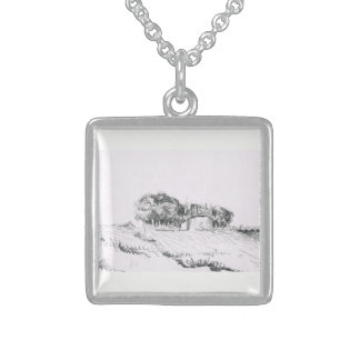 Miniature 17th century Dutch Style Landscape by EJ Sterling Silver Necklace