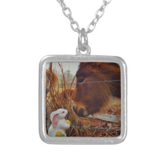 Miniature Brown horse & Easter Bunny Necklaces