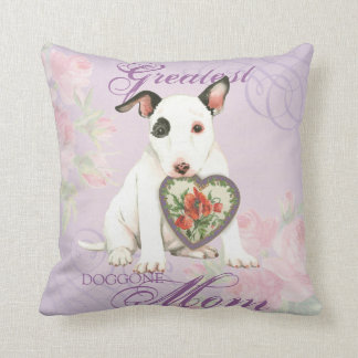 Miniature Bull Terrier Heart Mom Cushion