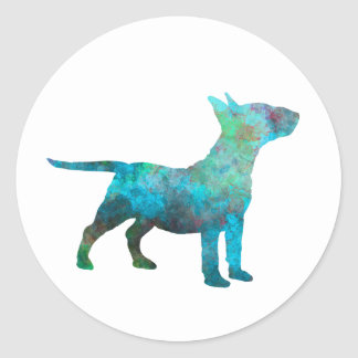 Miniature Bull terrier in watercolor Classic Round Sticker