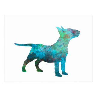 Miniature Bull terrier in watercolor Postcard