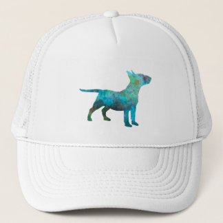 Miniature Bull terrier in watercolor Trucker Hat