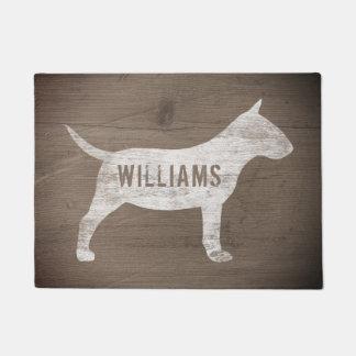 Miniature Bull Terrier Silhouette Custom Doormat
