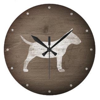 Miniature Bull Terrier Silhouette Rustic Large Clock