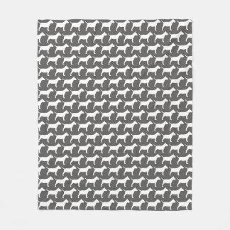Miniature Bull Terrier Silhouettes Pattern Fleece Blanket