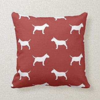 Miniature Bull Terrier Silhouettes Pattern Red Cushion