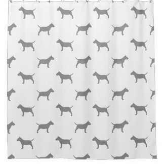 Miniature Bull Terrier Silhouettes Pattern Shower Curtain
