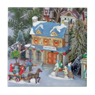 Miniature christmas village ceramic tile