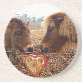 Miniature Donkey & Horse Valentine Heart Coaster
