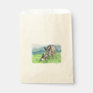 Miniature Donkey Mom and Baby Watercolor Art Favour Bag