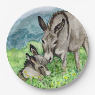 Miniature Donkey Mom and Baby Watercolor Art Paper Plate
