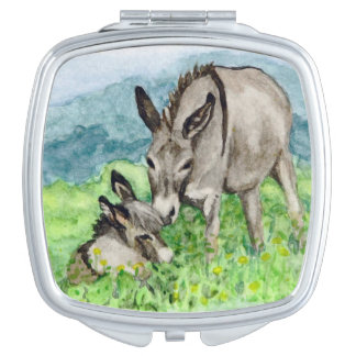 Miniature Donkey Mom and Baby Watercolor Art Travel Mirror