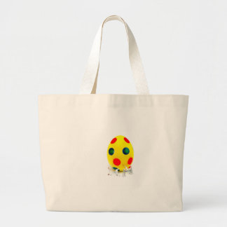 Miniature figurines painting yellow easter egg large tote bag