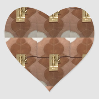 Miniature lock pattern brass shine fashion DIY fun Heart Sticker