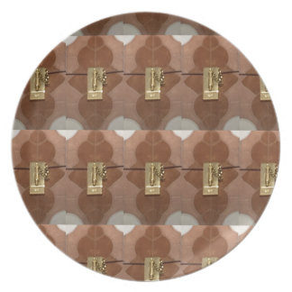 Miniature lock pattern brass shine fashion DIY fun Plates