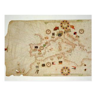 Miniature Nautical Map of the Central Mediterranea Postcard