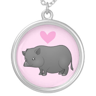 Miniature Pig Love Silver Plated Necklace