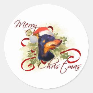 Miniature Pinscher Christmas Stickers