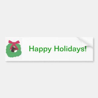 Miniature Pinscher Christmas Wreath Car Bumper Sticker