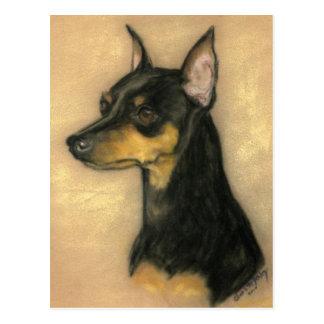 Miniature Pinscher Dog Art Postcard