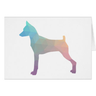 Miniature Pinscher Geometric Pattern Silhouette Card