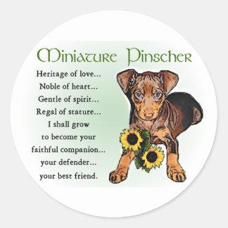 Miniature Pinscher Gifts Classic Round Sticker