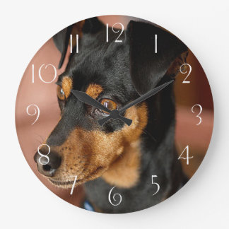 Miniature pinscher large clock