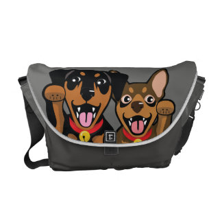 Miniature Pinscher Lucky Min Pin Messenger Bag