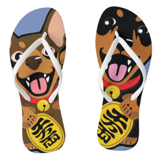 Miniature Pinscher Min Pin Dog Pop Art Flip Flops