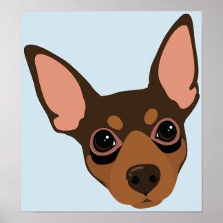 Miniature Pinscher Min Pin Dog Portrait Poster
