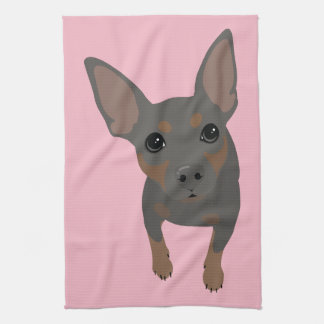 Miniature Pinscher Min Pin Dog Portrait Towel