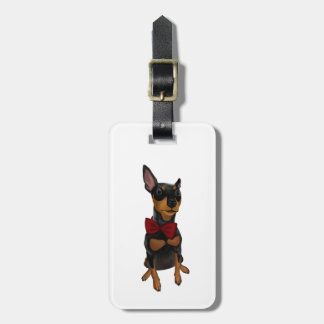 Miniature Pinscher (Min Pin) with Bow Luggage Tag