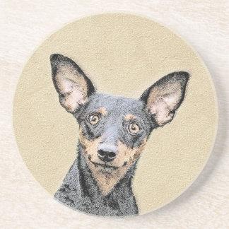Miniature Pinscher Painting - Cute Original Dog Ar Coaster