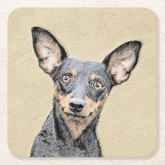 Miniature Pinscher Painting - Cute Original Dog Ar Square Paper Coaster