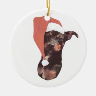 Miniature Pinscher Santa Hat Ornament