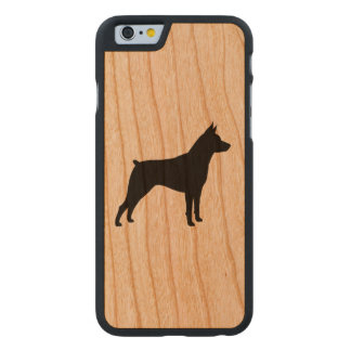 Miniature Pinscher Silhouette Carved Cherry iPhone 6 Case