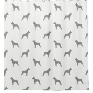 Miniature Pinscher Silhouettes Pattern Shower Curtain