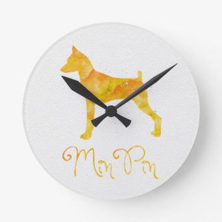 Miniature Pinscher Watercolor Design Round Clock