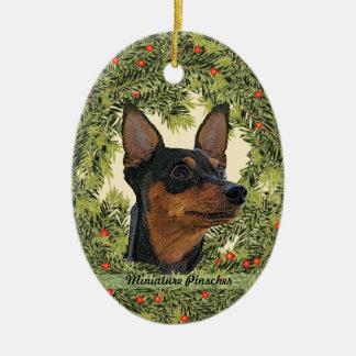 Miniature Pinscher Wreath Ceramic Ornament