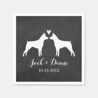 Miniature Pinschers Wedding Couple with Text Disposable Serviettes