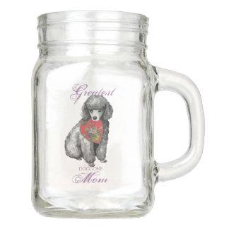 Miniature Poodle Heart Mom Mason Jar