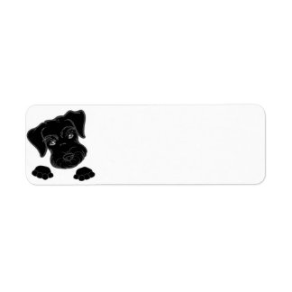 miniature schnauzer black peeking return address label