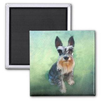 Miniature Schnauzer Dog Water Color Art Painting Magnet