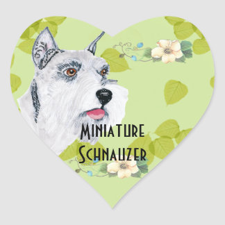 Miniature Schnauzer - Green Leaves Design Sticker