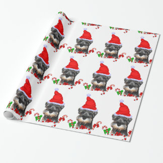 Miniature Schnauzer in Santa Hat Wrapping Paper