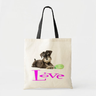 Miniature Schnauzer Puppy Dogs  Pink Love Tote
