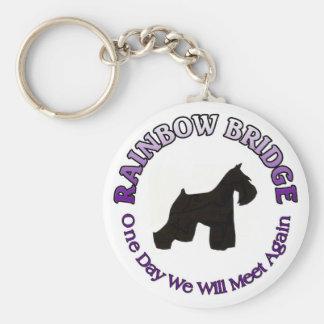 MINIATURE SCHNAUZER RAINBOW BRIDGE SYMPATHY DOG BASIC ROUND BUTTON KEY RING