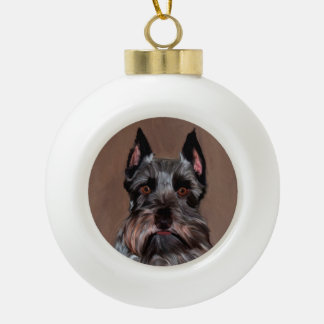 Miniature Schnauzer Water Color Art Painting Ceramic Ball Christmas Ornament