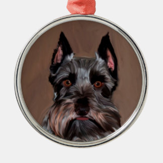 Miniature Schnauzer Water Color Art Painting Metal Ornament